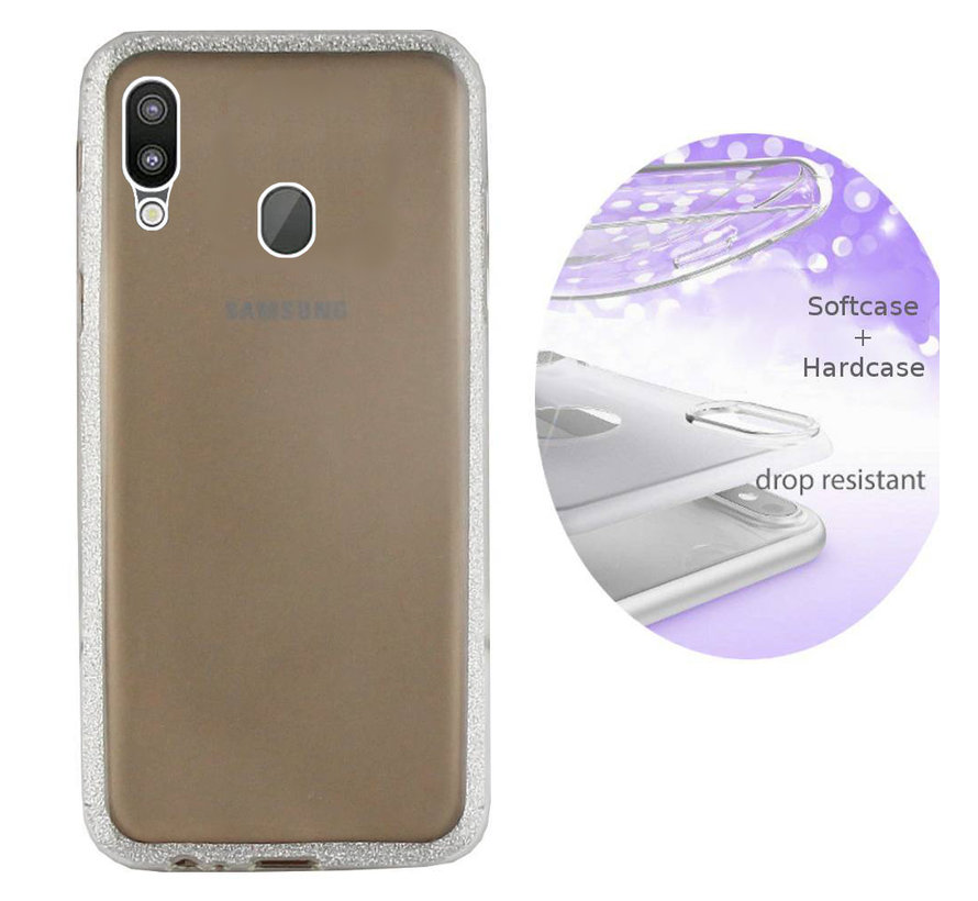 BackCover Layer TPU + PC voor Samsung M20 Zilver
