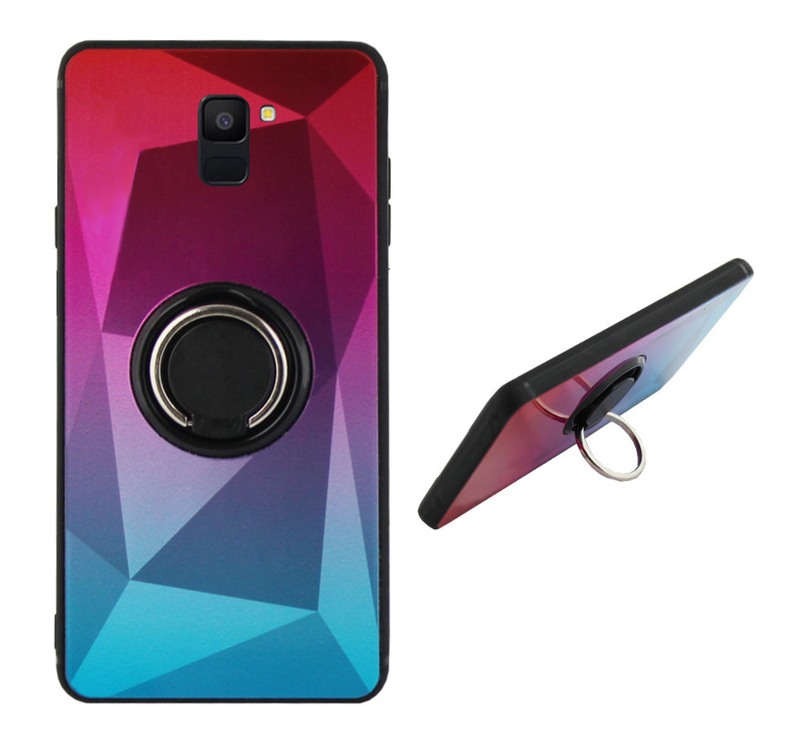 BackCover Ring / Magneet Aurora Samsung A6 2018 Roze+Blauw