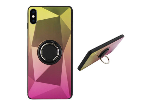 BackCover Ring Aurora iPhone Xs Gold+Pink