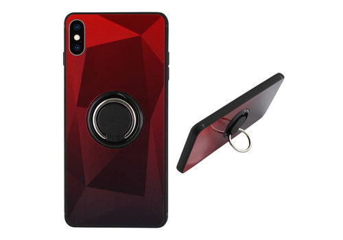 BackCover Ring Aurora iPhone Xs Rood+Zwart