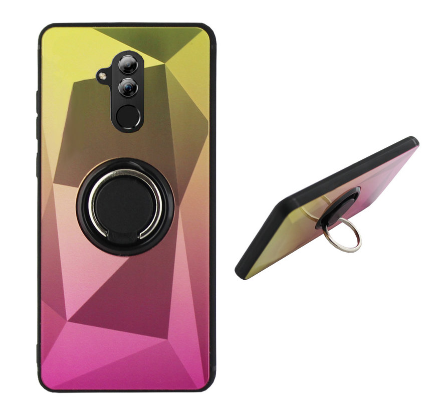 BackCover Ring / Magneet Aurora Huawei Mate 20 Lite Goud+Roze