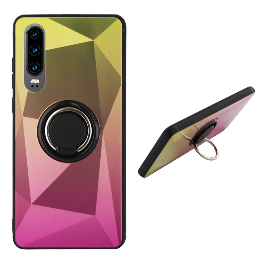 BackCover Ring / Magneet Aurora Huawei P30 Goud+Roze