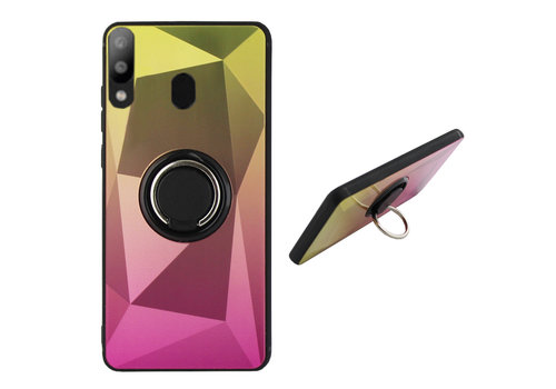 Samsung A20 en A30 Ring Houder Hoesje Goud Roze - BackCover Ring / Magneet Aurora