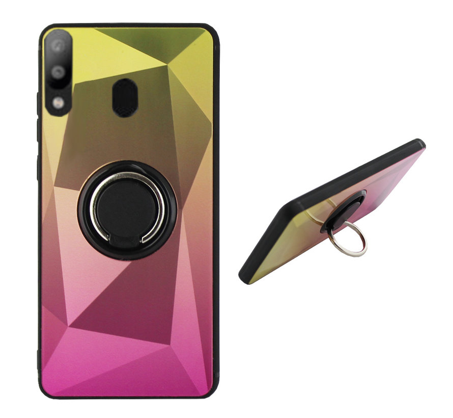 Samsung M20 Ring Houder Hoesje Goud Roze - BackCover Ring / Magneet Aurora