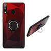 Samsung M20 Ring Houder Hoesje Rood Zwart - BackCover Ring / Magneet Aurora