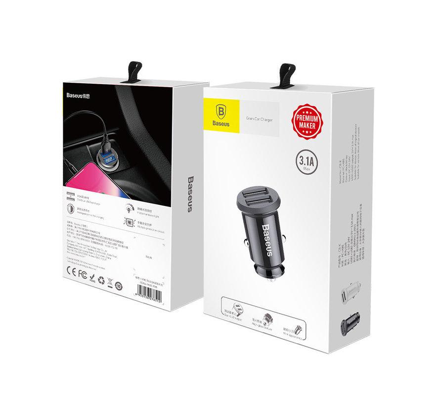 Baseus Grain Car Charger Zwart - Mini Design - 2 USB aansluitingen - Blauw LED 3.1A output
