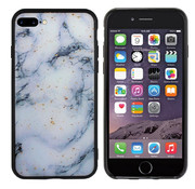 Colorfone iPhone 8 Plus - 7 Plus Hoesje Blauw/Wit - Marble