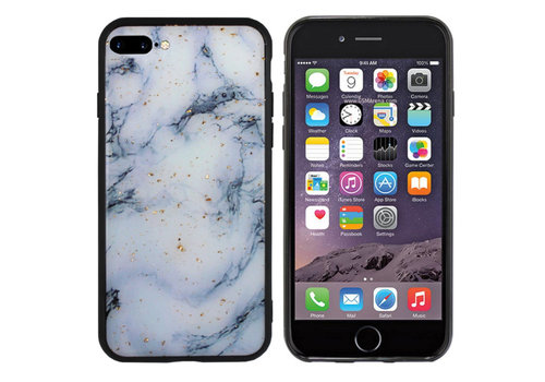 iPhone 8 Plus - 7 Plus Hoesje Blauw/Wit - Marble
