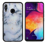 Colorfone Samsung M20 Hoesje Blauw/Wit - Marble