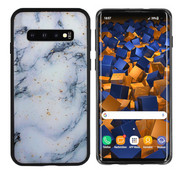 Colorfone Samsung S10 Plus Hoesje Blauw/Wit - Marble