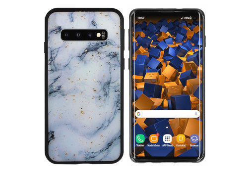 BackCover Glitter Marble S10 Plus Blauw