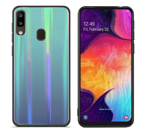 Colorfone BackCover Aurora Glass voor Samsung A20 - A30 Blauw