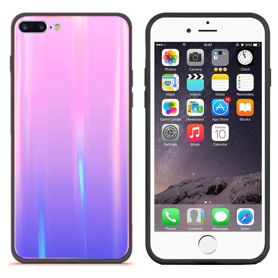 BackCover Aurora Glass voor Apple iPhone 8 Plus - 7 Plus Roze