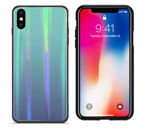Colorfone BackCover Aurora Glass voor Apple iPhone X - XS Blauw