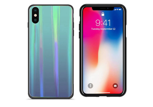 BackCover Aurora Glass iPhone Xs Max Blauw