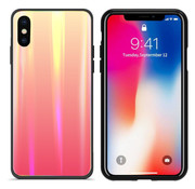 Colorfone BackCover Aurora Glass iPhone X - XS Oranje