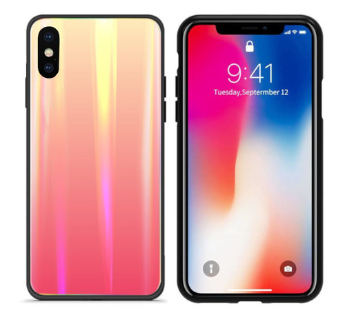 Colorfone BackCover Aurora Glass voor Apple iPhone X - XS Oranje