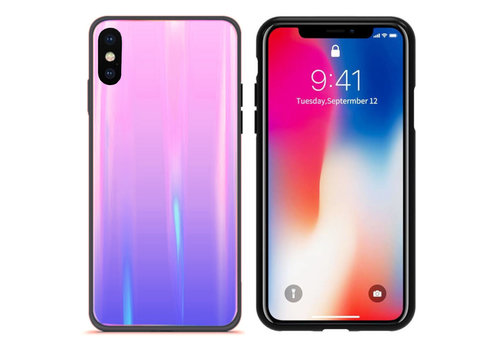 BackCover Aurora Glass iPhone X - XS Roze