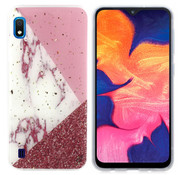 Colorfone Samsung A10 - M10 Hoesje Wit/Roze/Rood Marble