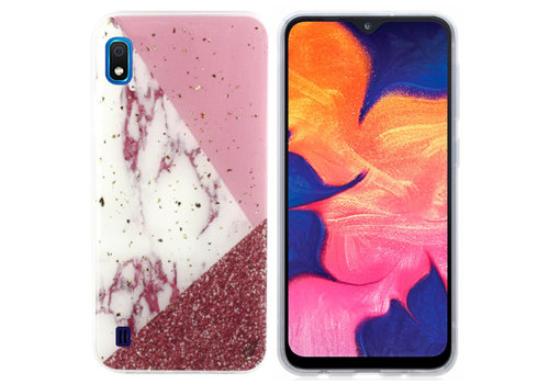 Samsung A10 - M10 Hoesje Wit/Roze/Rood Marble