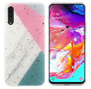 Colorfone Samsung A70 Case Grey/Pink/Turqois - Marble