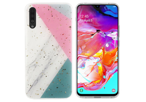 BackCover Marble Glitter A70 Grijs