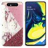 Samsung A80 - A90 Hoesje Wit/Roze/Rood - Marble