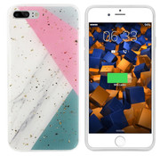 Colorfone iPhone 8 Plus and 7 Plus Case Grey with Pink and Turquoise - Marble