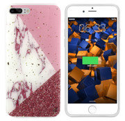 Colorfone iPhone 8 Plus en 7 Plus Hoesje Wit met Roze en Rood  Marble