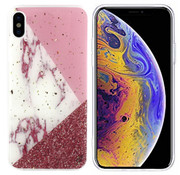 Colorfone iPhone Xs Max Case White with Pink and Red - Marble