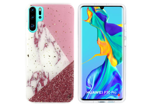 BackCover Marble Glitter P30 Pro Wit