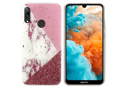 BackCover Marble Glitter P Smart Plus 2019 Wit