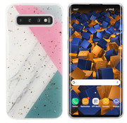 Colorfone Samsung S10 Plus Case Grey/Pink/Turqois - Marble