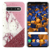 Colorfone Samsung S10 Plus Hoesje Wit/Roze/Rood Marble