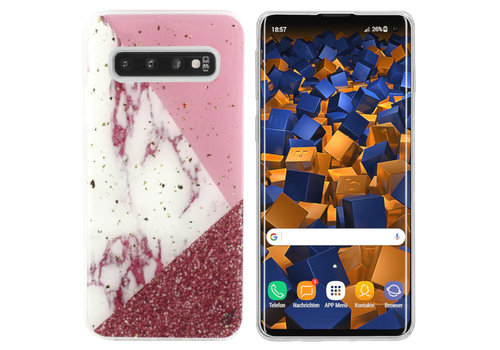 BackCover Marble Glitter S10 Plus Wit