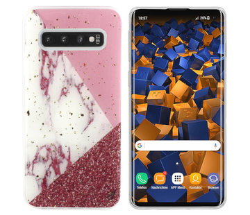 Colorfone Samsung S10 Hoesje Wit/Roze/Rood - Marble