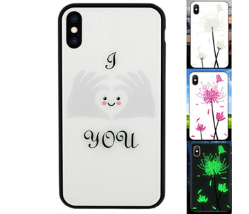 Colorfone iPhone X en Xs Hoesje Hart - BackCover Magic Glass