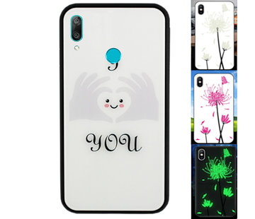 Colorfone Huawei Y7 2019 Hoesje Hart - BackCover Magic Glass