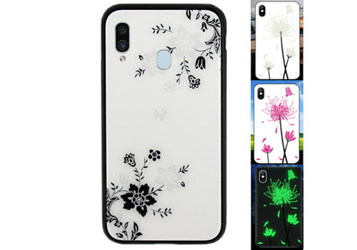 Samsung A20E Hoesje Bloemen - BackCover Magic Glass 1