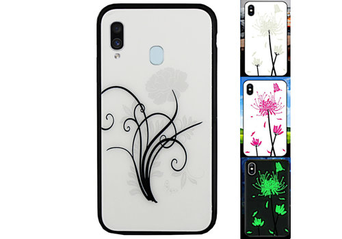 Samsung A20E Hoesje Bloemen - BackCover Magic Glass 2