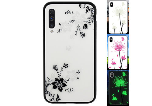 Samsung A70 Hoesje Bloemen - BackCover Magic Glass 1