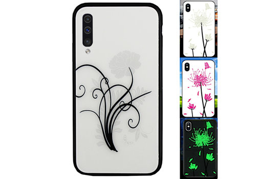 Samsung A70 Hoesje Bloemen - BackCover Magic Glass 2