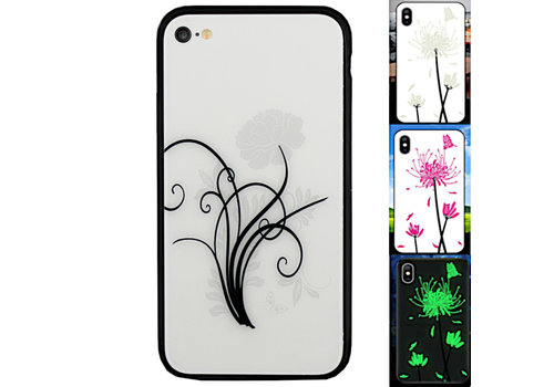 iPhone 6 en 6S Hoesje Bloemen - Backcover Magic Glass 2