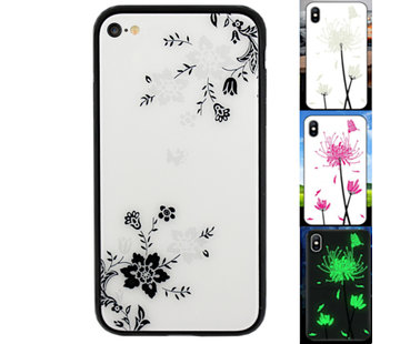 Colorfone iPhone SE 2020 en 8 en 7 Hoesje Bloemen - BackCover Magic Glass 1