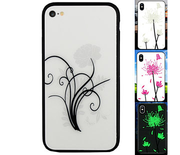 Colorfone iPhone SE 2020 en 8 en 7 Hoesje Bloemen - BackCover Magic Glass 2