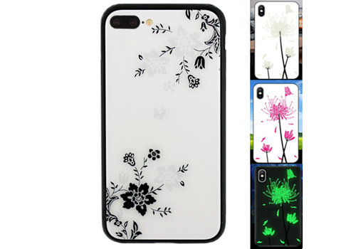 iPhone 8 Plus en 7 Plus Hoesje Bloemen - BackCover Magic Glass 1