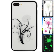 Colorfone iPhone 8 Plus en 7 Plus Hoesje Bloemen - BackCover Magic Glass 2
