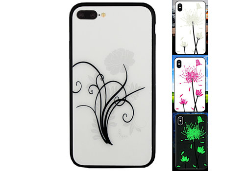 iPhone 8 Plus en 7 Plus Hoesje Bloemen - BackCover Magic Glass 2