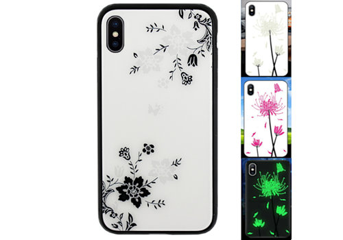 iPhone X en Xs Hoesje Bloemen - BackCover Magic Glass 1