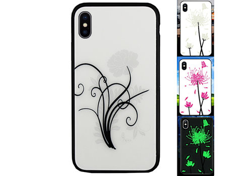 iPhone X en Xs Hoesje Bloemen - BackCover Magic Glass 2
